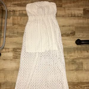 White Lace / Crochet Strapless Maxi Dress